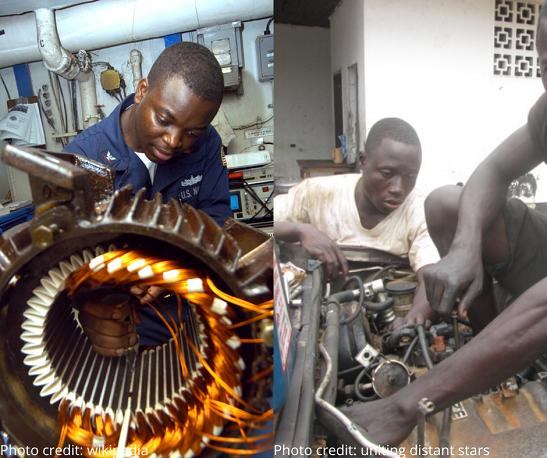a man repairing car